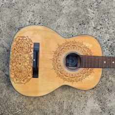 Amandala Life- Upcycled vintage guitar with mandala design wood burned