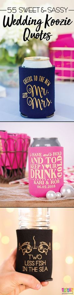 Still looking for the perfect wedding favor quote? Then consider this your first wedding gift: here are 55 funny, romantic and admittedly redneck sayings to print on your wedding can coolers, favors or other party items! Check out all of these sayings now and gain some great ideas!