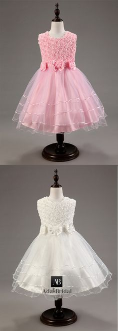 Amazing Tulle Jewel Neckline Ball Gown Flower Girl Dresses With Handmade Flowers