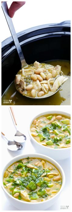5-Ingredient Easy White Chicken Chili -- made easy in the slow cooker, or ready to go on the stovetop in minutes! | gimmesomeoven.com #crockpot #slowcooker