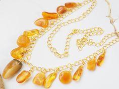 Natural Amber Necklace53 gramsPendant AmberAntique Stacking AmberLayering BalticOriginal BoxGemstoneBeads NecklaceJewelry Egg Yolk