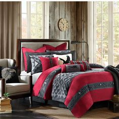 The Woolrich Eagle's Nest collection is a Native American inspired 9 piece comforter set. The duvet style comforter features Native American pattern in tonal charcoal grey pattern on the center that is pieced with a bold red color with a similar pattern in charcoal on the top and bottom of the comforter. The duvet style comforter comes in filled, but has a duvet opening, so you can easily clean and care for the top of the bed. The shams feature the Native American tonal grey pattern in…