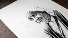 Mother Teresa Pen Pointillism