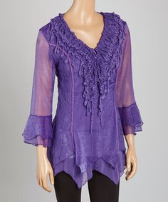 Purple Lace Silk-Blend V-Neck Tunic