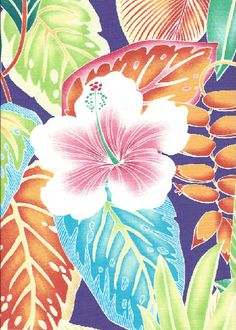 Welina - Barkcloth Hawaii Fabrics - Vintage Style Hawaiian Fabrics. Tropical Hawaiian stylized hibiscus, heliconia, and multi-colored leaves, a cotton apparel fabric.