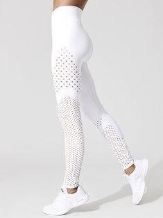 Eyelet Side Twist Leggings in White Legging Outfits, Athleisure Outfits, White Leggings Outfit, White Workout Leggings, Red Leggings, Cute Leggings, Designer Leggings, Workout Attire, Workout Wear