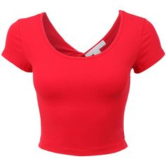 Womens Lightweight Open Back Scoop Neck Crop Top with Stretch ($8.44) ❤ liked on Polyvore