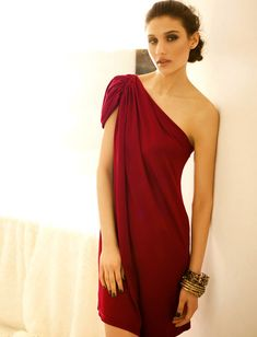 Graceful Sloping Shoulder Short Sleeve Party Dress For Women (RED,ONE SIZE) China Wholesale - Sammydress.com