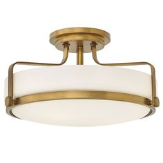Harper 3 Light Medium Semi Flush - Heritage Brass - Harper's sleek, retro design elevates the traditional semi-flush mount with a unique opal glass bound by a prominent metal ring and decorative knobs - Elstead Lighting Ltd Brass Ceiling Light, Semi Flush Ceiling Lights, Flush Mount Ceiling, Ceiling Light Fixtures, Ceiling Lamps, Brass Lamp, Ceiling Lighting, Wall Lights, Hallway Lighting