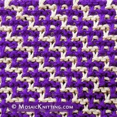 Two color Slip-stitch Knitting. Left Diagonal Chain knit stitch.