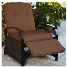 Reclining Patio Chair | ... Creations Savoy Collection Patio Recliner Chair,  Resin Wicker