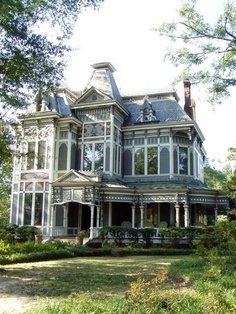 Home Design Architecture. Amazing Second Empire Mansard Victorian House Come With Wrap Around Porch And Tall Clear Glass Sash Windows And Gray Painted Wall Paneling. Victorian Architecture, Beautiful Architecture, Beautiful Buildings, Beautiful Homes, Beautiful Places, House Architecture, Big Beautiful Houses, Architecture Interiors, Beautiful Castles