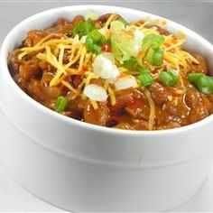 Drunk Deer Chili Allrecipes.com. I found so many recipes for game meats on this website, so for all you hunters, and wives/girlfriends of hunters, here are some great ideas! @Kathy Krupa