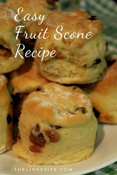 These fruit scones are quick and easy to make and only need 5 ingredients! Enjoy them for breakfast, afternoon tea, or as an anytime snack! Plus they're freezer friendly! thelinkssite.com #scones #easyrecipe #bestrecipe #breakfast #snacks #freezerfriendly Scones Aux Fruits, Fruit Scones, Savory Scones, Healthy Cake Recipes, Homemade Cake Recipes, Delicious Breakfast Recipes, Snack Recipes, Brunch Recipes, Easy Recipes