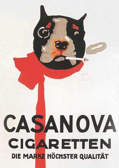 Poster for Casanova cigarettes, 1920 by Ludwig Hohlwein (German 1874-1949)