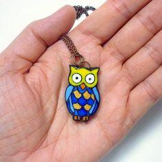 Owl Nambi pendant Blue owl necklace Polymer by ArtStudioKatherine