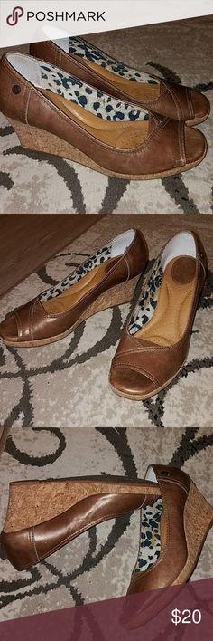 Nurture brown leather & cork wedges 7.5 Nurture brown leather & cork wedges 7.5. Super comfy.  Tons of padding Nurture by Lamaze Shoes Wedges