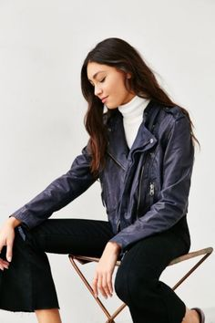 Members Only Navy Leather Moto Jacket - Urban Outfitters