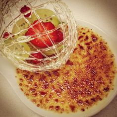 Le Cordon Bleu - Basic Patisserie -  Creme Brulee with sugar cage and fruit decoration.