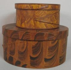 Wood-Bands; Hopf (CF), Pantry Boxes (2), Round & Oval, 1 Finger, Paint Decorated, Grained & Sponged.