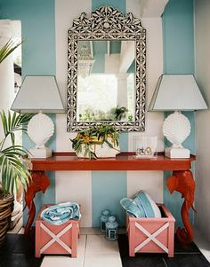 striped walls.  inlaid bone mirror.  bright console.  love it.  entryway.  home decor and interior decorating ideas.