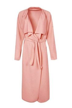 Pink Lapel Trench Coat with Belt - US$25.95 -YOINS