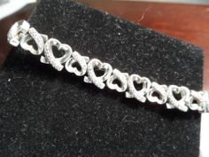 "Sterling Silver Heart Links with CZ's Bracelet 26 Grams 7"" #Traditional"