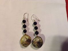 Women's New Sterling Silver Dangle Earrings Black-Iridescent #DropDangle