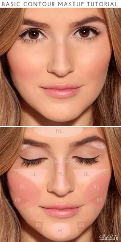 "Start by applying a light foundation in the areas labeled ""HL"" to add highlights. Fill in the areas marked ""BR"" with a darker foundation (about 2 shades darker than your skin) to act as your bronzer. Finish off by applying blush in the area of the cheekbone marked ""BL"" and—voilà!—a perfect makeup look for any special occasion!:"