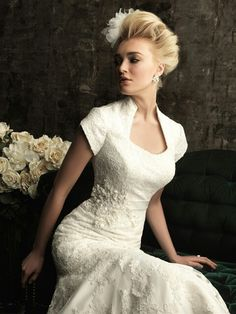 Cap Sleeve Lace/Lace Applique Wedding Gown Featuring Queen Ann Neckline & Swarovski Crystal Detail At Right Waist; by Allure Bridals Modest Collection·····