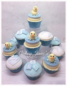 Blue For A Boy Baby Shower Cupcakes