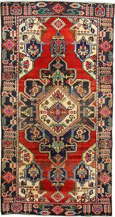 Red 5' 0 x 9' 8 Tribal Bakhtiar Rug | Persian Rugs | eSaleRugs