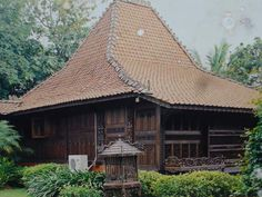 Traditional house of Kudus, Indonesia. Wood carving