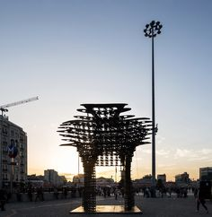 """GAD Architecture has installed their latest sculptural design, Serra Gate, in Istanbul's Taksim Square, just in time for Istanbul Design Week. Named after the minimalist sculptor whose work inspired the design, the Serra gate's steel form was created using cutting edge technology. The sinuous curvature was conceived through the software """"Mathematica,"""" and was modeled using the latest 3D printing technologies. 3d Printing Technology, Istanbul, Gate, Software, Louvre, Minimalist, Sculpture, Steel, Inspired"""