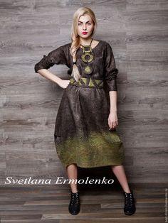 """Купить Валяное платье """"Оливковая роща"""" - коричневый, валяное платье, Платье…"""