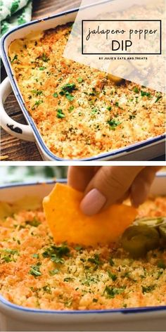 JALAPENO POPPER DIP - Dips for Parties - Jalapeno Popper Dip is a crowd favorite! This quick and easy baked dip is gooey and extra cheesy, lo - Cheesy Recipes, Veggie Recipes, Mexican Food Recipes, Appetizer Recipes, Seafood Appetizers, Cooking Recipes, Seafood Salad, Seafood Pasta, Dip Recipes