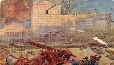 на футуристической открытке 1914 г. торговому дому Мюр и Мерилиз пророчат совершенно невероятное будущее
