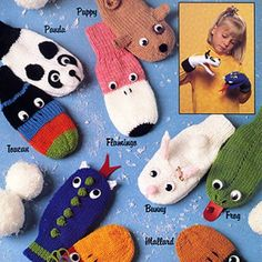 Knitting Patterns Mittens Puppet Mittens Knit ePattern – Kids will love acting out little skits with these ten knitted puppet … Knitting For Kids, Loom Knitting, Free Knitting, Knitting Projects, Knitting Needles, Knitted Mittens Pattern, Crochet Mittens, Baby Knitting Patterns, Crochet Baby Blanket Beginner