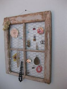 I've never admired chicken wire so much as I did when I discovered this DIY jewelry holder from Life.Love.Larson. Hooray for old window frames!