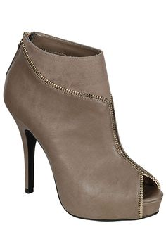 Anne Michelle Verdict-67 Peep-Toe Bootie in Taupe - Beyond the Rack - $24.99