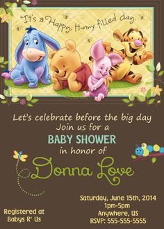 Baby Winnie the Pooh Baby Shower Invitations $8.99
