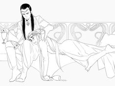 Thranduil and Elrond by nico Thranduil is like that uncle who gets sloppy drunk at Christmas and cries. Or maybe that's just my family.