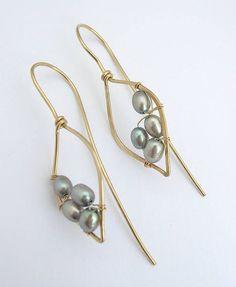 Silver Pearl Leaf Hoops