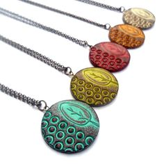 Circle Tree Necklace - Solitude- Lime Green, Red, Cream, Mustard Yellow or Turquoise