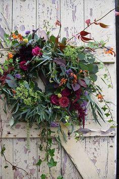 Wedding Flower Arrangements Autumn Wildflowers Bouquet with Orange and Pink Flowers Wreaths And Garlands, Xmas Wreaths, Autumn Wreaths, Church Wedding Flowers, Flower Bouquet Wedding, Fall Flowers, Pink Flowers, Dreams Catcher, Arte Floral