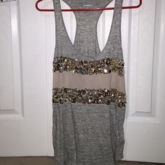 Express tank top gray and tan with gold sequence Express Tops Tank Tops