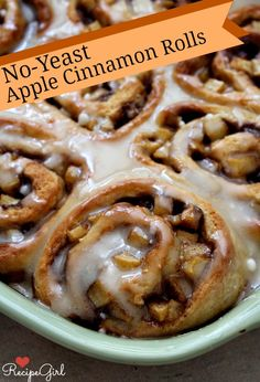 No Yeast Apple Cinnamon Rolls with Maple Icing #recipe