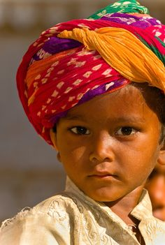 Boy wearing a turban, Jaisalmer, Rajasthan, India