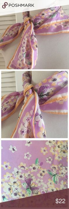"Vintage Lilac Floral Scarf, A Beauty! 22""x22""  Excellent condition  Beautiful and perfect for Spring...or whenever! Vintage Accessories Scarves & Wraps"