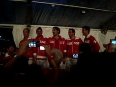 Have you heard Federer sing? The team celebrating after a Davis cup victory over Italy, 2009